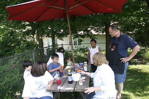 Family Eating Outside