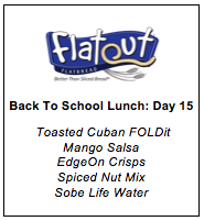 Back to School Lunch Menu Day 15