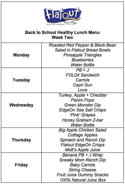 Healthy Back To School Lunch Menu - Week Two