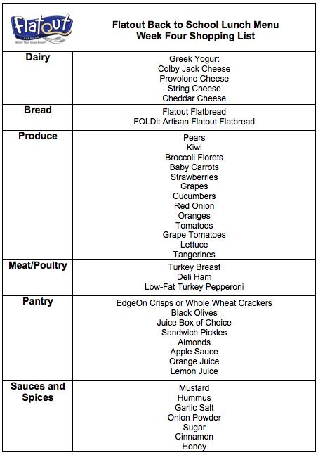 Week Four Grocery List