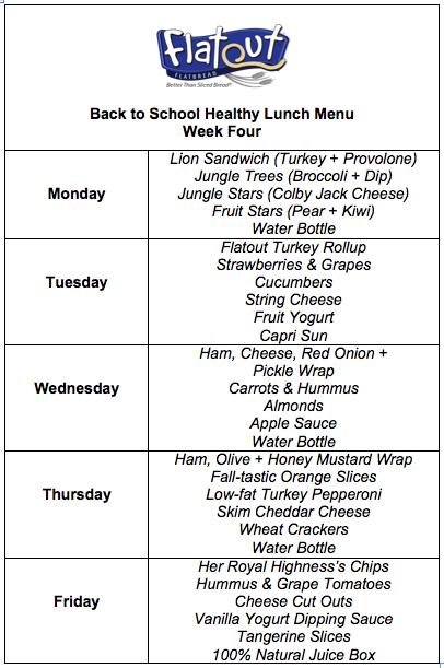 Week Four Full Lunch Menu